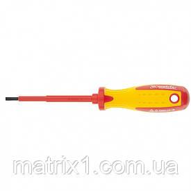 Отвертка Insulated, SL4 x 100 мм, CrMo, до 1000 В, двухкомпонентная рукоятка Matrix Professional
