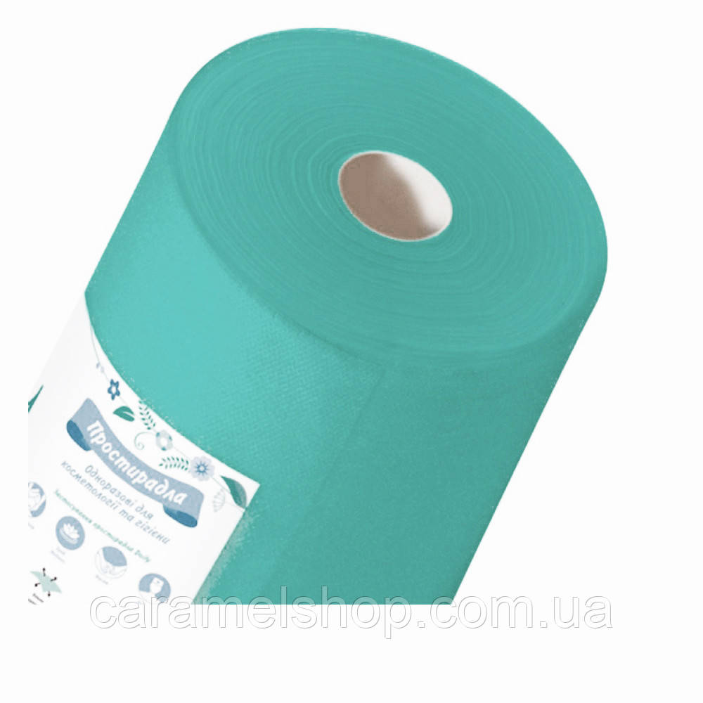 Простыни одноразовые для косметологии и гигиены 20 г/м кв. ширина 60 см х 100 м Тимпа цвет БИРЮЗОВЫЙ