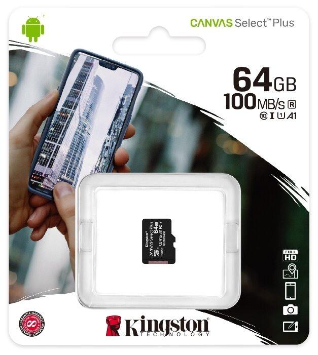 Карта памяти Kingston Canvas Select Plus microSDXC 64Gb