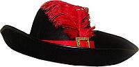Шляпа мушкетера, кот в сапогах, гвардейца (черный)