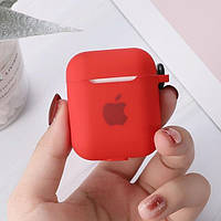 Силиконовый чехол кейс для наушников Apple Airpods 2  Красный с карабином   Оригинал