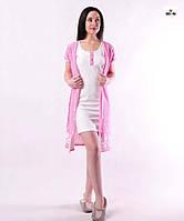 Комплект жіночий для вагітних і годуючих мам халат і сорочка рожевий р. 42-54