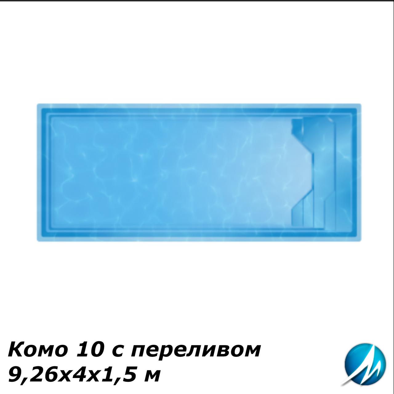 """Композитный бассейн """"Комо 10"""" 9,26х4х1,5 м, с переливом"""