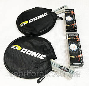 Набір ракеток для настільного тенісу в чохлі 2 штуки DONIC +6 м'ячиків