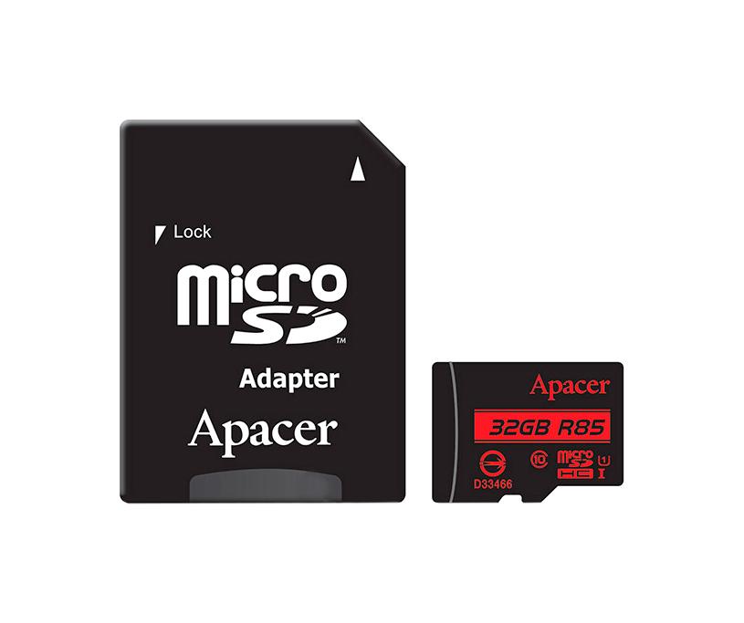 Apacer microSDHC 32GB UHS-I U1 R85MB/s (з адаптером) (AP32GMCSH10U5-R)