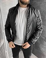 Мужская стильная кожаная куртка черная весна осень