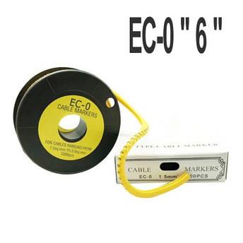 """Кабельная маркировка  (в катушках)  EC-0 """"6"""" (0.75-1.5мм2) 1000шт, фото 2"""