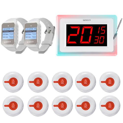 Система вызова медперсонала RECS №179 | кнопки вызова 10 шт + 2 пейджера медсестры + приемник на 3 номера