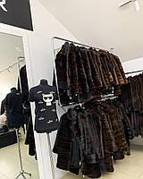 Модная норковая жилетка натуральный мех окрас коричневый цвет 46 48 размер M L