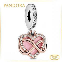 Пандора Кулон Сверкающее сердце бесконечность Rose Pandora 788878C01