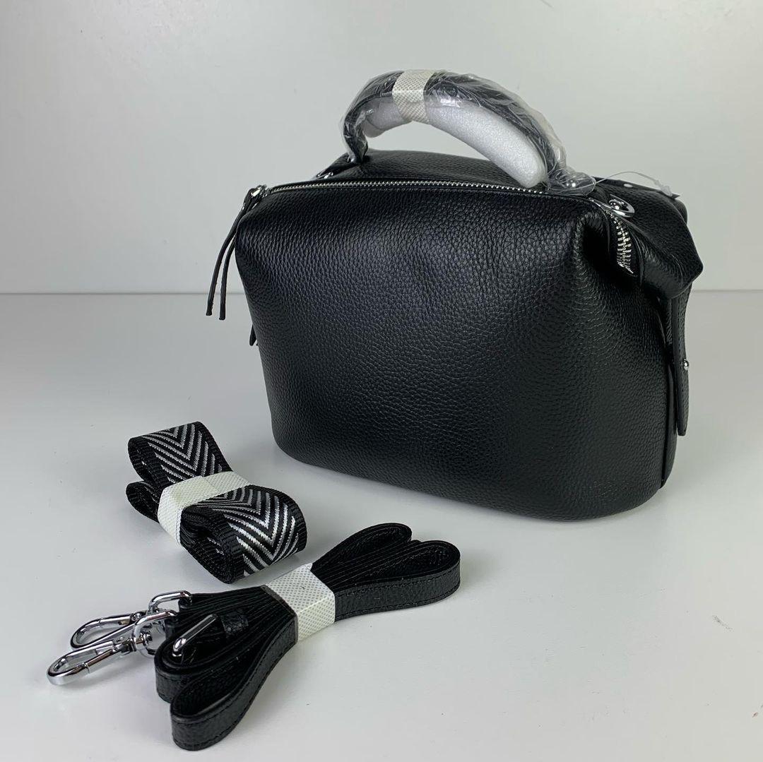 Сумка бочонок 2 ремешка в комплекте / натуральная кожа (358) Черный