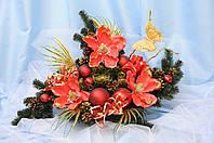 Композиция новогодняя под 3 свечи(К1) , пленка ПВХ 70х30х60