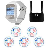 Система вызова медперсонала RECS №180 | безбатарейные кнопки вызова 5 шт + пейджер персонала + преобразователь, фото 1