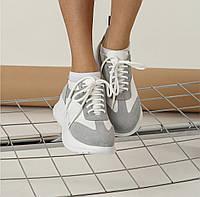 Кроссовки женские белые серые натуральная кожа Kelly Corso