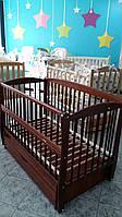 Кроватка детская для новорожденных Элит № 10 на шарнирах с подшипником, откидная боковина, ящик, цвет тик, фото 1