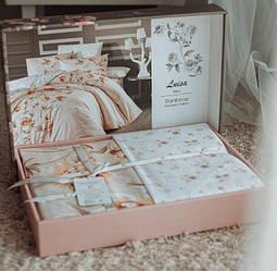 Турецкое постельное белье «Ranforce Luisa Ecru» евро размер с цветочным узором