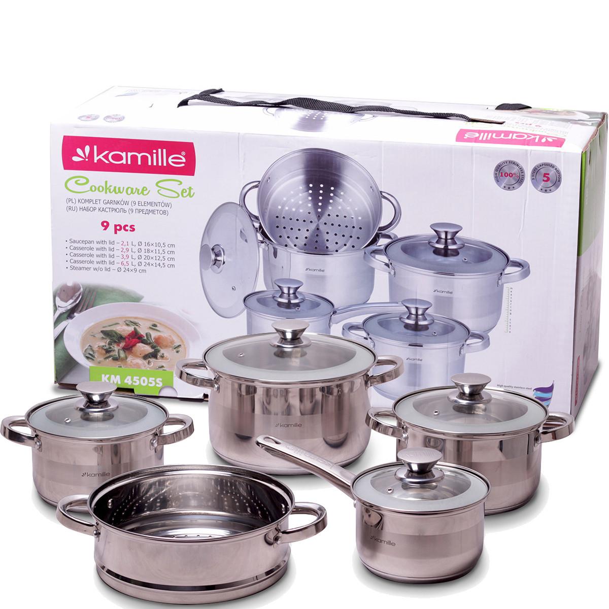 Набір посуду Kamille з нержавіючої сталі 9 предметів для індукції і газу (2.1 л, 2.9 л, 3.9 л, 6.5 л)