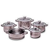 Набір посуду Kamille з нержавіючої сталі 9 предметів для індукції і газу (2.1 л, 2.9 л, 3.9 л, 6.5 л), фото 2