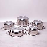 Набір посуду Kamille з нержавіючої сталі 9 предметів для індукції і газу (2.1 л, 2.9 л, 3.9 л, 6.5 л), фото 4