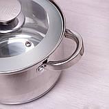Набір посуду Kamille з нержавіючої сталі 9 предметів для індукції і газу (2.1 л, 2.9 л, 3.9 л, 6.5 л), фото 7