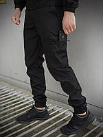 Штаны карго брюки мужские весенние осенние качественные черные Softshell light Intruder