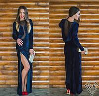 Темное-синее платье 152040 в пол