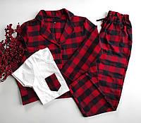 Женская фланелевая пижама в клетку рубашка и штаны