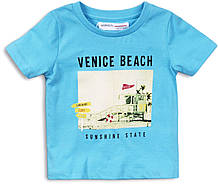 Голубая детская футболка для малыша 9-12 мес, 74-80 см