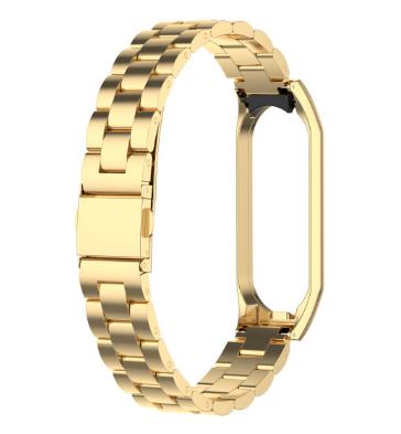Металлический браслет для фитнес трекера Xiaomi mi band 4 / Xiaomi mi band 3 Цвет Золотистый №2