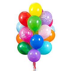 """Связка из 15 разноцветных шаров и 5 шаров """"С Днем Рождения"""""""
