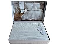 Комплект постельного белья Maison D'or Mirabella Dantela Cream жакардовый 220-200 см кремовый