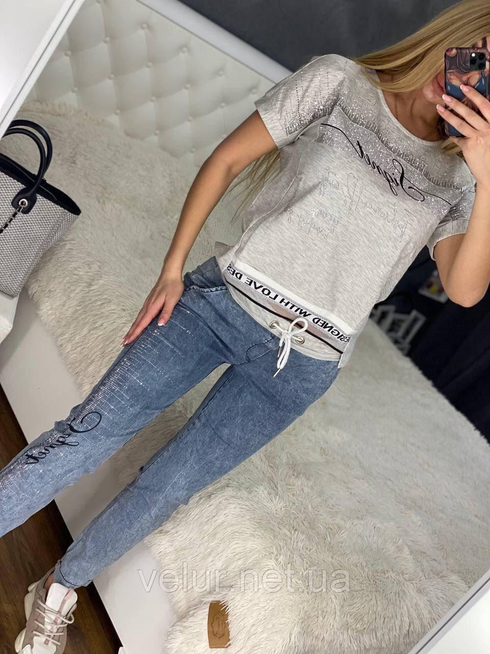 Жіночий літній костюм *Печатка* з джинсами ,(Туреччина); 48,50,52,54,56 (наші розміри)