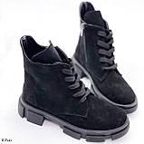 Женские ботинки ДЕМИ черные натуральная замша весна/осень, фото 4