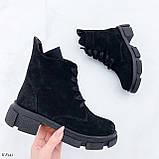 Женские ботинки ДЕМИ черные натуральная замша весна/осень, фото 2