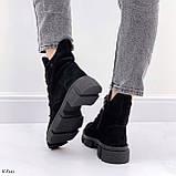 Женские ботинки ДЕМИ черные натуральная замша весна/осень, фото 8