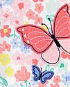 """Бавовняний чоловічок carter's для дівчинки """"Метелик"""" з ніжками у квіточки, фото 2"""