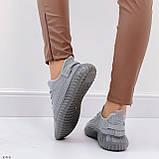Кросівки жіночі сірі текстиль весна/літо/ осінь, фото 3