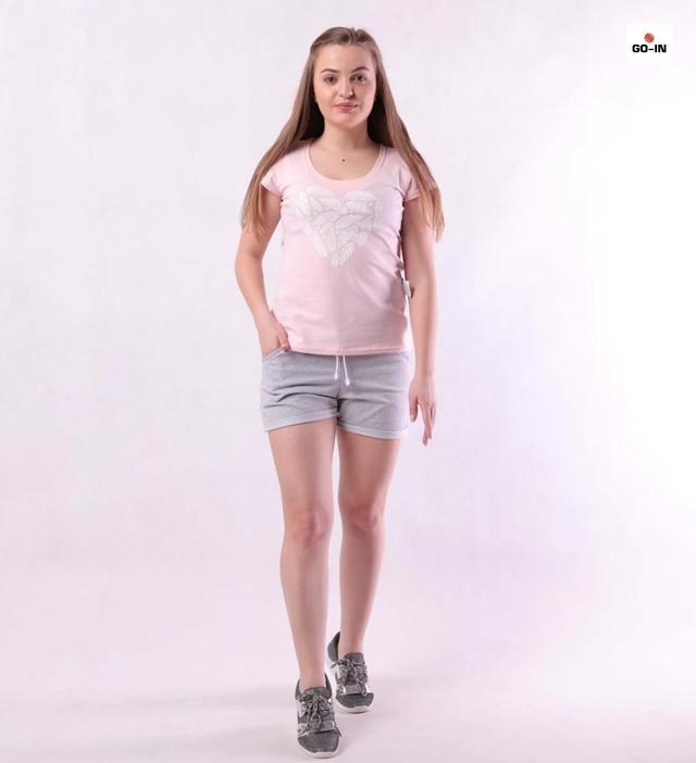 Костюм женский футболка и шорты летний трикотажный розовый для девушек