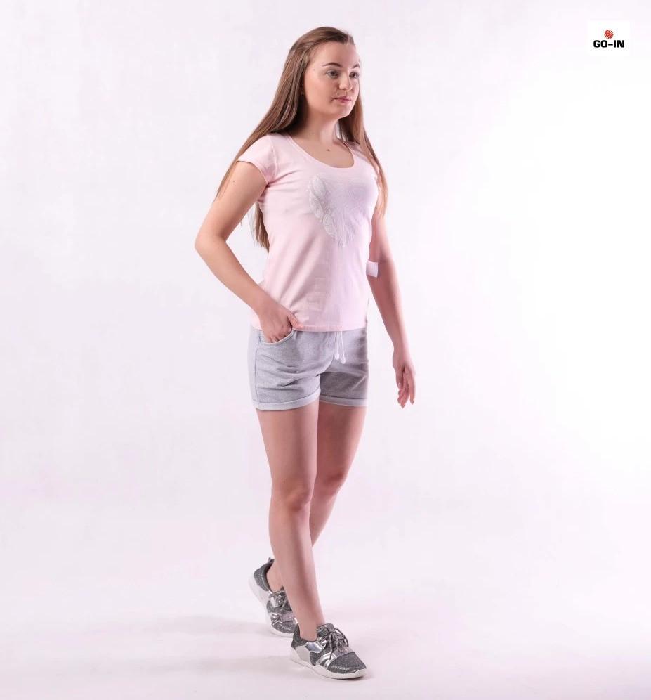 Костюм женский футболка и шорты летний трикотажный розовый для девушек р.42-54