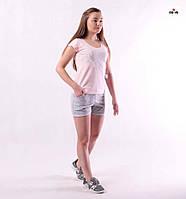 Костюм женский футболка и шорты летний трикотажный розовый для девушек р.42-54, фото 1