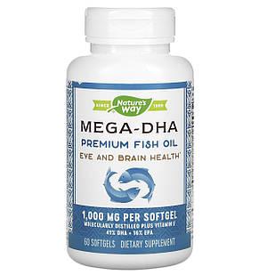 Nature's Way Mega-DHA преміальний риб'ячий жир 1000 мг у кожній капсулі 60 ЖК