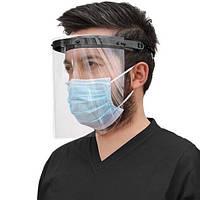 Экран-щиток защитный для лица прозрачный медицинский антибактериальный лицевой экран маска пластиковая черная