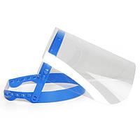 Экран-щиток защитный для лица прозрачный медицинский антибактериальный лицевой экран маска пластиковая синяя