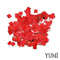 Конфетті квадратики червоний пастель, 8 мм (50 г)