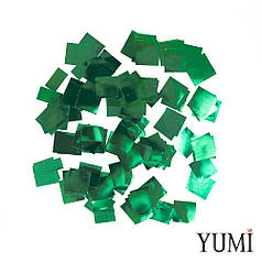 Конфетті квадратики зелений металік, 8 мм (50 г)