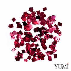 Конфетті квадратики червоний металік, 8 мм (50 г)
