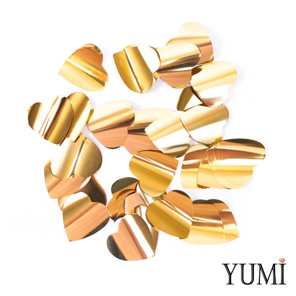 Конфетти сердечки золото, 35 мм (50 г)