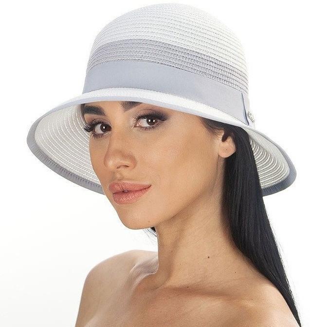 Женская летняя шляпа цвет белый с серой  отделкой