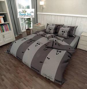 Набор постельного белья Бязь Gold размер полуторный 150х215 см серый с надписями