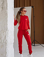 Женский спортивный костюм Adidas original красный с лампасами,костюмы адидас.